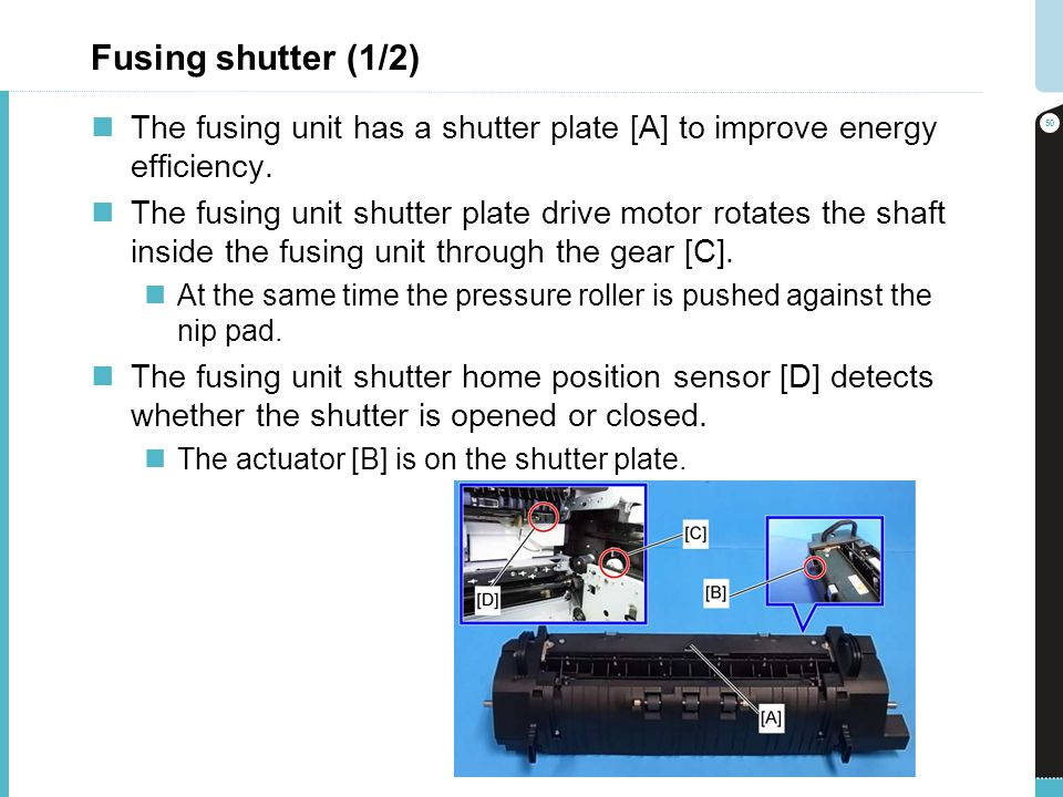 Fusing shutter (1/2) The fusing unit has a shutter plate [A] to improve energy efficiency.